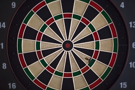 Front view of dart board, with score and different levels of aim...