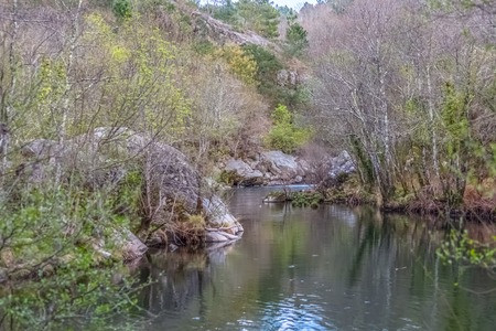 View of a river, with trees, rocks and vegetation on the banks, reflections in the water and bright colors, Portugal