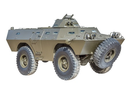 Front view of old armored military vehicle, white background