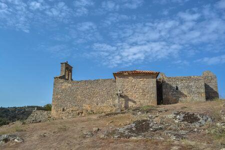 Castelo Mendo, Portugal - 08 17 2014: View of a religious church ruins, medieval village inside fortress castle of Castelo Mendo