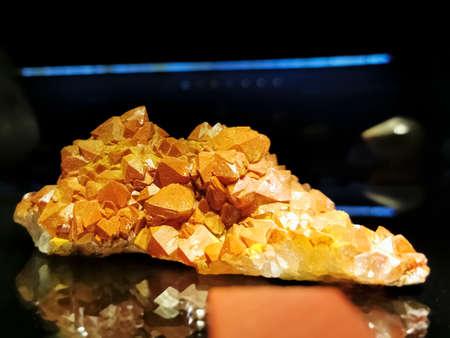 View of red quartz mineral of Moroccan origin, crystalline quartz aggregate lined with iron oxide (hematite and limonite) 版權商用圖片