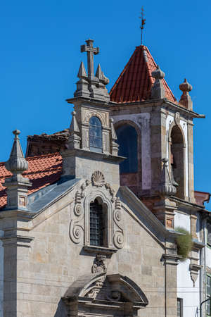 Lamego / Portugal - 07 25 2019 :View of the superior main facade of the Church of Desterro, in downtown Lamego