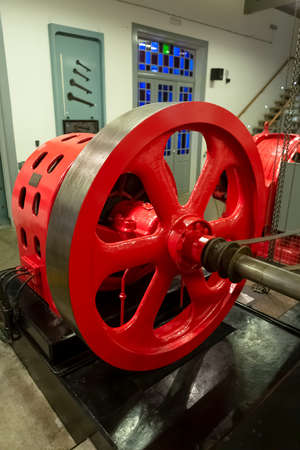View of a classic 1934 industrial electricity generator turbine...