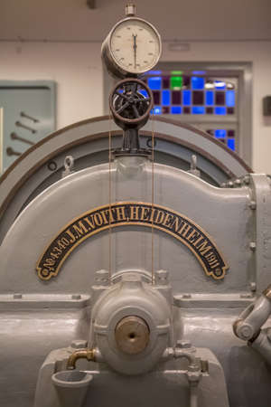 Seia / Portugal - 08 22 2020: Detailed view of old barometer of power hydroelectric generator engine