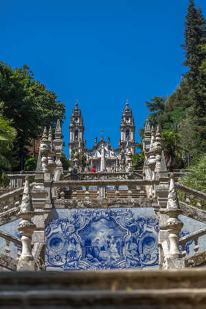 Lamego / Portugal - 07 25 2019 : View at the Lamego Cathedral on the top with a huge stairway, a baroque monument, architectural and religious icon of the city