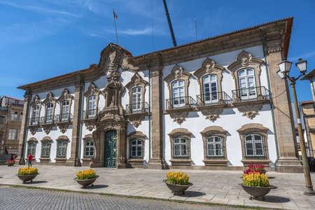 Braga / Portugal 09 12 2020: View of a exterior facade at the Braga Council building, Camara Municipal de Braga , on city downtown