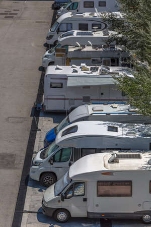 View of a car park with motorhomes parked, different models of vehicle for tourism...
