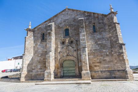 Freixo Espada Cinta / Portugal - 08 23 2020: View at the Church of São Miguel on Freixo Espada Cinta village, a typical romanesque and gothic portuguese church