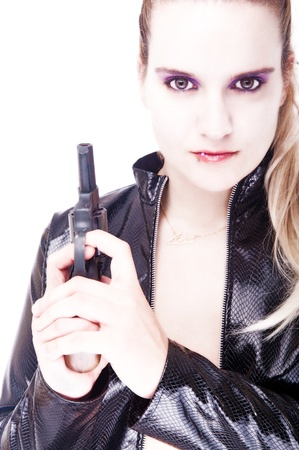 Sexy woman with pistol high key futuristic portrait with leather jacket
