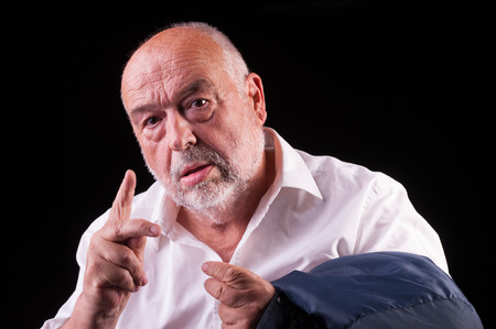 rationale: orld man reasoning and gesticulating Stock Photo