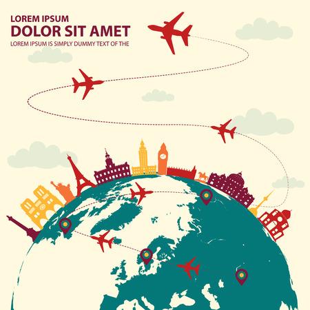 viajar por todo el mundo Ilustración de vector