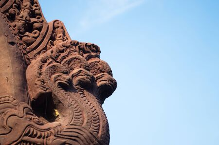 kaew: Statues of mythical creatures. Mythical animal keeper sanctuary. Huay Kaew temple in Lopburi, Thailand.