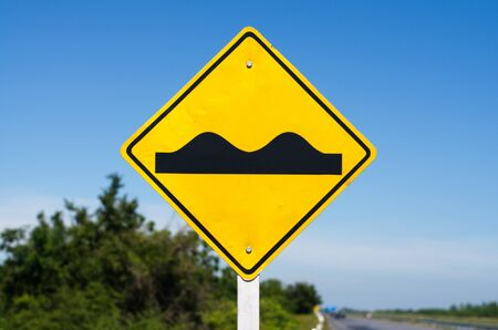 Traffic Signs. Traffic routing and alert on the road to the vehicle. Stock Photo