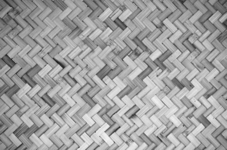 Full Frame Shot Of Wicker Basket. Black and White background and Texture. Dark tone.