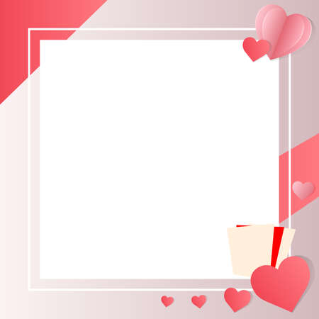 Pink heart shaped card with space for clearing the greeting message. Valentine day.