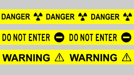 Black signs and symbols of danger, do not enter and warning isolated on yellow bar.