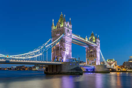 Tower Bridge - London at the night after the sunset view from the river thames