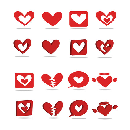 A red heart-shaped icon 2D - 3D