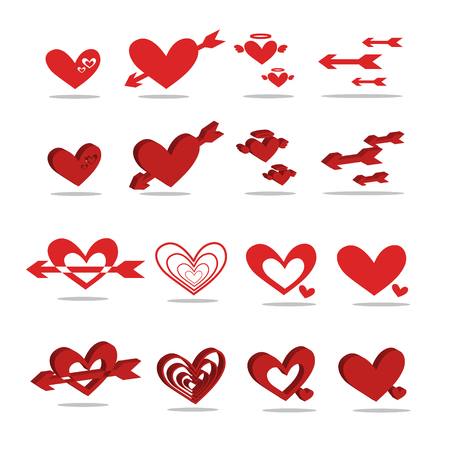 illus: A red heart-shaped icon 2D - 3D