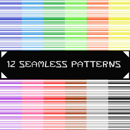 12 Colors Striped seamless patterns Illustration