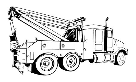 Tow Truck Outlined Black Vector Illustration