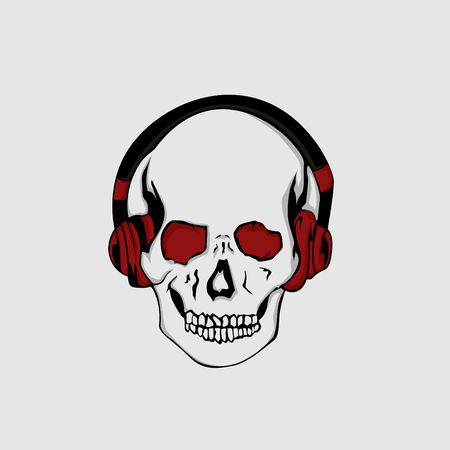 Skull Outline with Red Black HeadPhone Фото со стока - 99714824