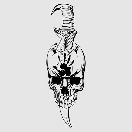 Contorno teschio con pugnale per Tatto Vettoriali