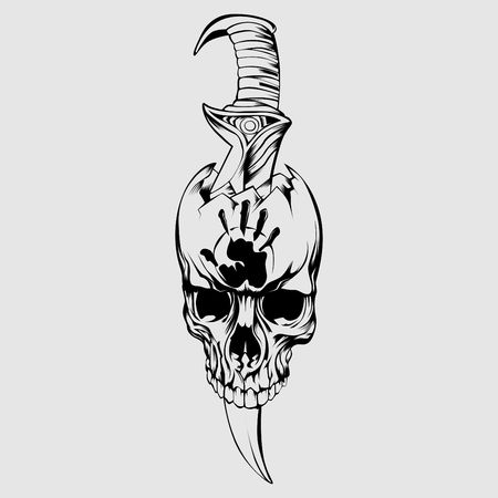 Skull Outline with Dagger for Tatto