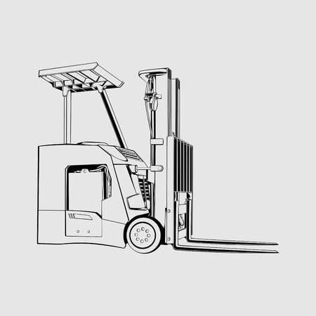 Forklift Stand Up Counterbalance Line Art