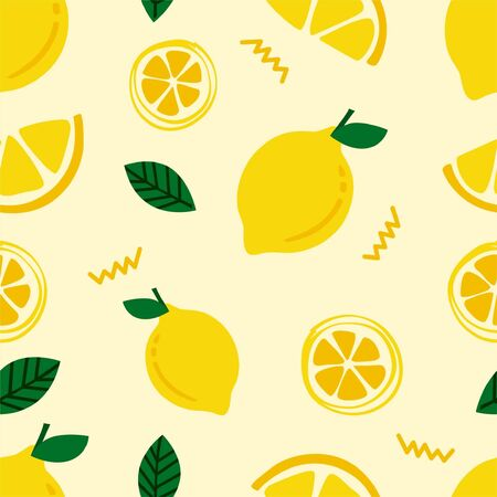 Fresh lemon lime with mint leaves seamless pattern background for kids and room decoration