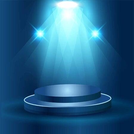 Realistic stage podium with elegant lightning spotlight