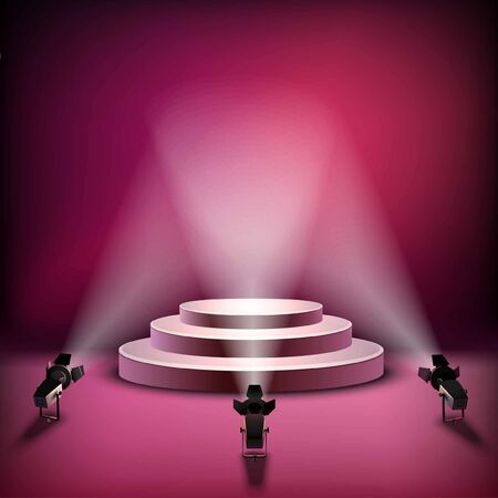 Realistic stage with elegant lightning spotlight  イラスト・ベクター素材