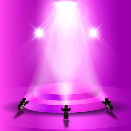 Stage podium with realistic elegant lightning spotlight Stock Illustratie