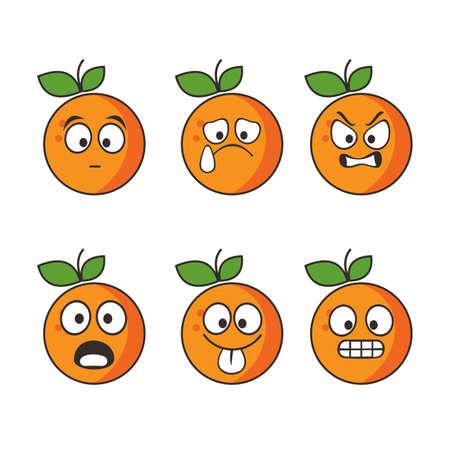 Set of cute and cute orange fruit emoticons Vetores