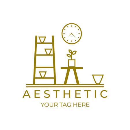 aesthetic furniture logo illustration vector design