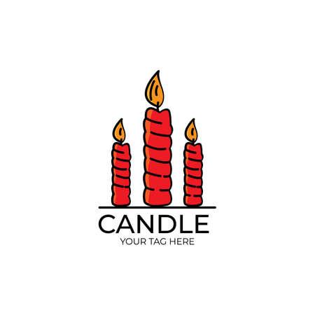 candle logo illustration design Ilustração