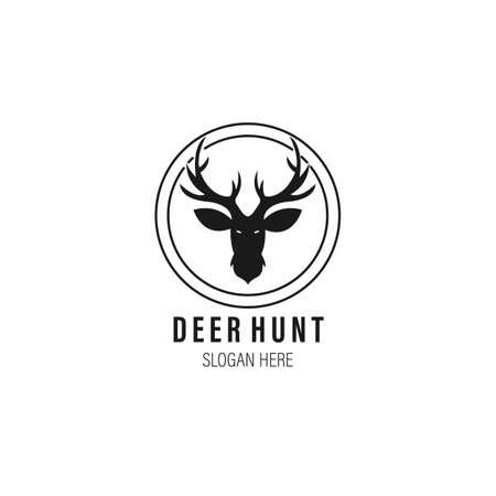 deer hunt vintage logo vector illustration template design