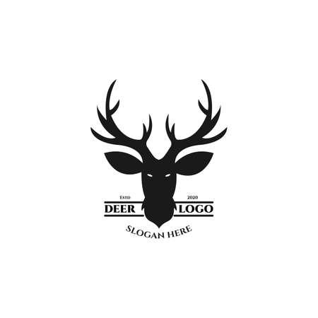 deer vintage logo vector illustration template design