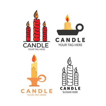 candle set collection logo icon vector illustration template design. happy birthday logo