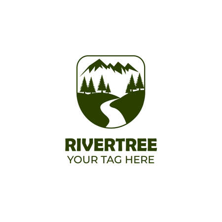 mountain and river logo vector illustration design, landscape logo design