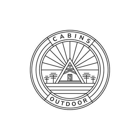 cabin home minimalist line art emblem vintage logo icon vector illustration template design. cottage, lodge, hut logo template design