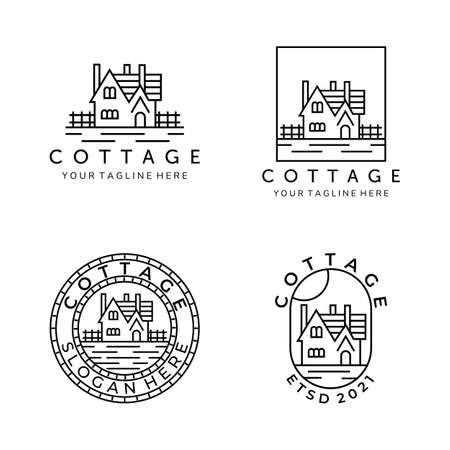cottage line art set bundle logo vector illustration template design. home, house, lodging logo design