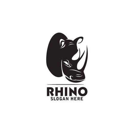 head rhino logo design vector 向量圖像