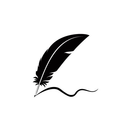 feathers and signature logo icon design vector