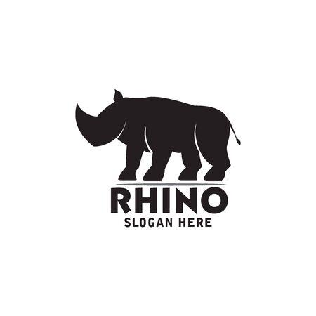 rhino logo design simple vector template