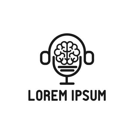 brain logo concept with podcast and earphone idea logotype illustration icon symbol sign