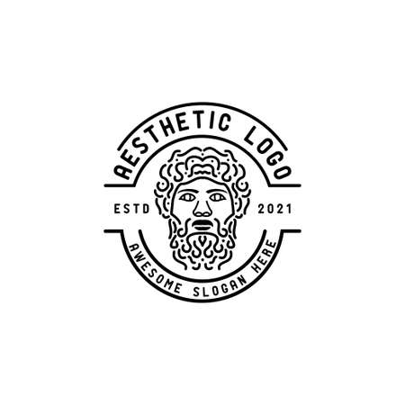 ancient greek god icon logo,line and outline logo design,Ancient Greek Philosopher God Statue drawing Face head hair and beard,vector template