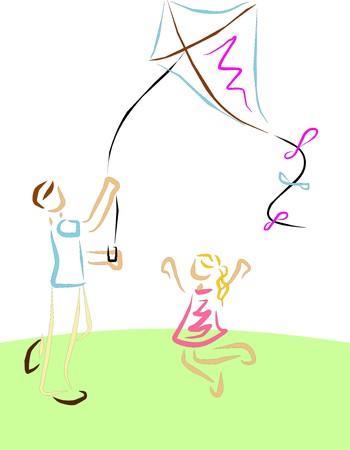 Un padre con sua figlia giocano con un commit a godersi il tempo libero