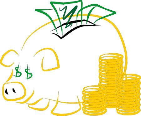 accumulate: The typical moneybox of the piglet symbolizing the aptitude to generate and accumulate richness