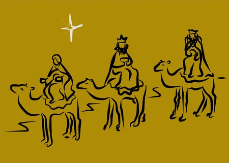 christ the king: three kings magicians Illustration
